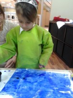 girl with blue painting
