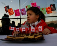 Canadian flags and girl